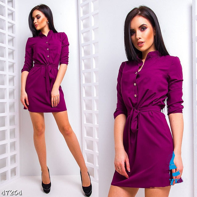 Purple Elegant Waistband Dress