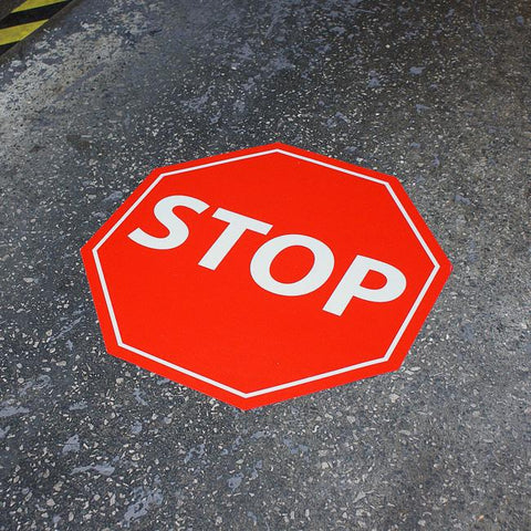 "17"" x 17"" QC-STOP Octagon Floor Sign"