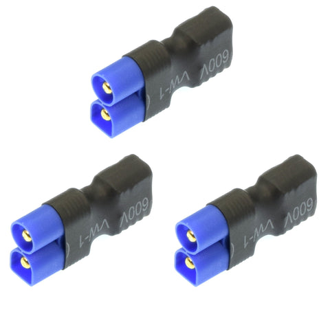 Apex RC Products No Wire Female Ultra T Plug (Deans Style) -> Male EC3 Adapter - 3 Pack #1250
