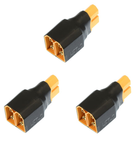 3 Pack #1252 - Female XT60 Adapter Apex RC Products No Wire Male Ultra T Plug Deans Style