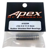 Apex RC Products 5x11x4mm Rubber Shielded Ball Bearing - 10 Pack #1925R
