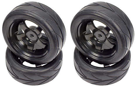 Apex RC Products 1/10 On-Road Black 5 Spoke Wheels & V Tread Rubber Tire Set #5000