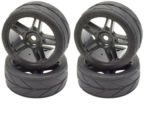 Apex RC Products 1/10 On-Road Black Split 5 Spoke Wheels & V Tread Rubber Tire Set #5001