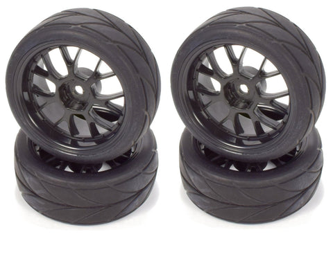 Apex RC Products 1/10 On-Road Black Mesh Wheels & V Tread Rubber Tire Set #5002