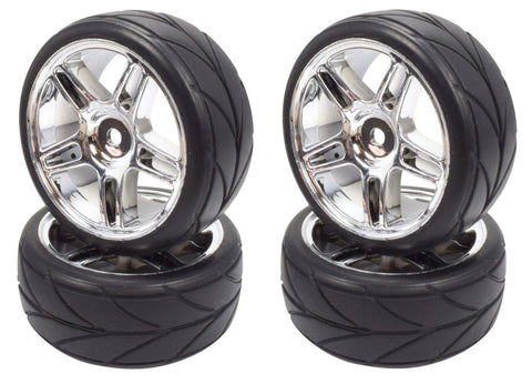 Apex RC Products 1/10 On-Road Chrome Split 5 Spoke Wheels & V Tread Rubber Tire Set #5006