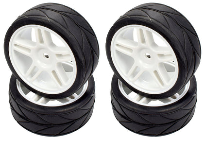 Apex RC Products 1/10 On-Road White Split 5 Spoke Wheels & V Tread Rubber Tire Set #5016
