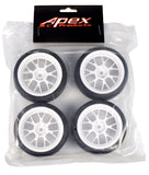 Apex RC Products 1/10 On-Road White Mesh Wheels & V Tread Rubber Tire Set #5017