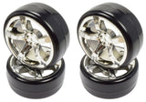Apex RC Products 1/10 On-Road Chrome 5 Spoke Wheels & Drift Tire Set #5030