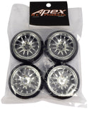 Apex RC Products 1/10 On-Road Chrome Split 7 Spoke Wheels & Drift Tire Set #5033