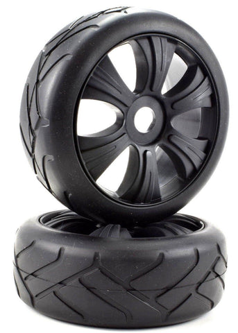 Apex RC Products 1/8 On-Road Black Aggressor Wheels & Super Grip Tire Set #6024