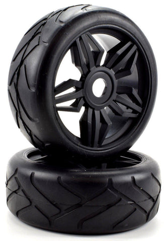Apex RC Products 1/8 On-Road Black Diamond Wheels & Super Grip Tire Set #6025