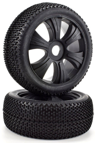 Apex RC Products 1/8 Off-Road Black Aggressor Wheels & Nubby Tire Set #6034