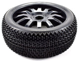 Apex RC Products 1/8 Off-Road Black 12 Spoke Wheels & Nubby Tire Set #6036