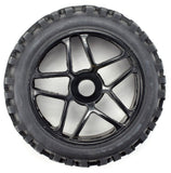 Apex RC Products 1/8 Off-Road Black Star Wheels & Attack Tire Set #6041