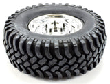 "Apex RC Products 1.9"" Chrome ""5 Lug"" Wheels 100mm ""Grinder"" Crawler Tires #6161"