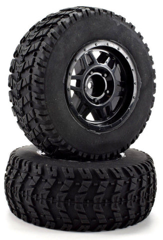 Apex RC Products 1/10 Short Course Off-Road Black Split 6 Spoke Wheels & Scorcher Tire Set #6206
