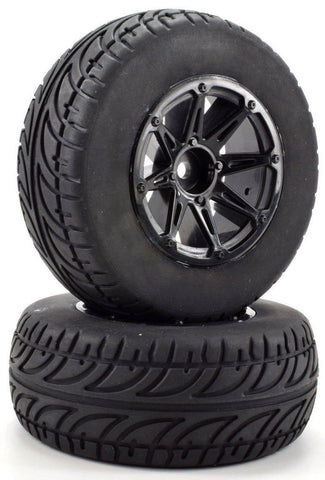 Apex RC Products 1/10 Short Course On-Road Black 8 Spoke Wheels & Gripper Tire Set #6211