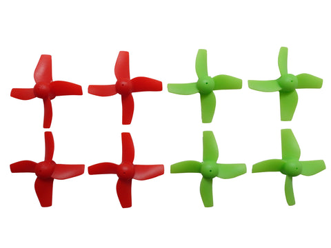Apex RC Products Blade Inductrix Bright Red / Neon Green CW CCW Props - 2 Sets (8 Props) #9060GR
