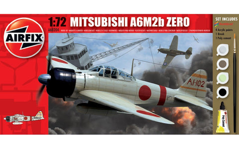 Airfix Mitsubishi A6M2b Zero Set W/ Glue, Paints, & Brush 1:72 Model A68204M