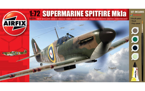 Airfix Supermarine Spitfire MkIa Set W/ Glue, Paints,& Brush 1:72 Model A68206M