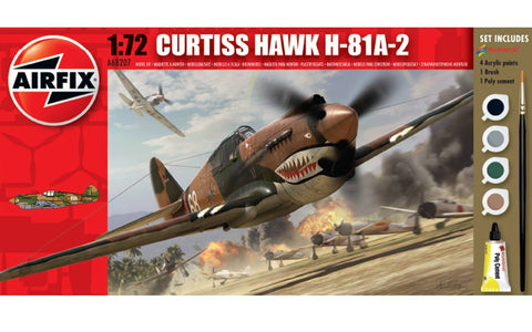 Airfix Curtiss P-40 Warhawk Set W/ Glue, Paints,& Brush 1:72 Model A68207M