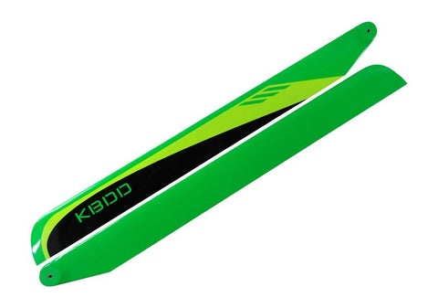 KBDD 430mm FBL Black / Lime / Yellow Carbon Fiber Main Rotor Blades 430B