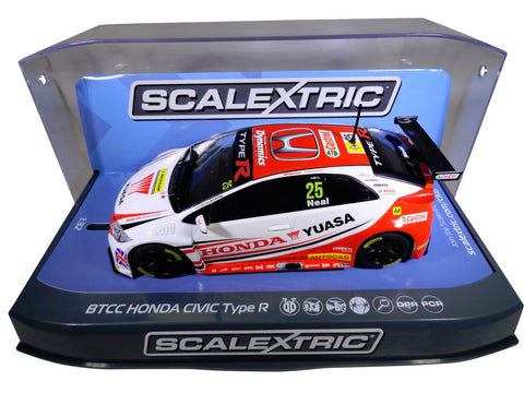 "Scalextric ""Yuasa"" BTCC Honda Civic PCR DPR W/ Lights 1/32 Scale Slot Car C3734"