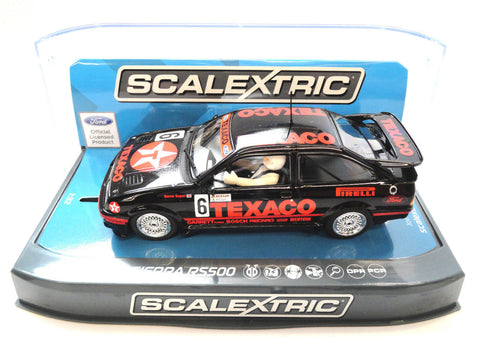 "Scalextric ""Texaco"" Ford Sierra RS500 PCR DPR W/ Lights 1/32 Scale Slot Car C3738"