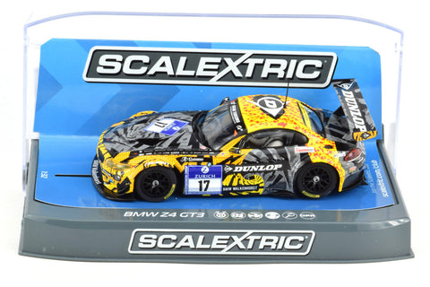 "Scalextric ""Dunlop"" BMW Z4 GT3 DPR W/ Lights 1/32 Slot Car C3847"