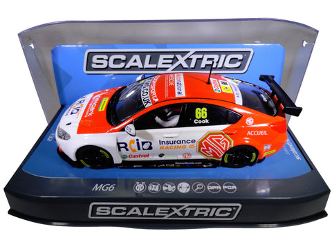 "Scalextric ""RCI"" BTCC MG6 PCR DPR W/ Lights 1/32 Scale Slot Car C3863"