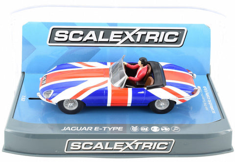 Scalextric Jaguar E-Type - Union Jack W/ Lights 1/32 Scale Slot Car C3878