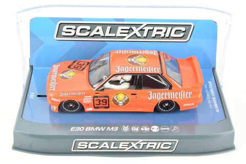 "Scalextric ""Jagermeister"" BMW E30 M3 DPR W/ Lights 1/32 Scale Slot Car C3899"