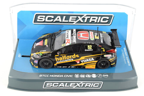 "Scalextric ""Yuasa"" BTCC Honda Civic DPR W/ Lights 1/32 Scale Slot Car C3919"