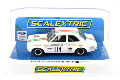 "Scalextric ""Castrol"" Ford Escort Mk1 DPR W/ Lights 1/32 Scale Slot Car C3924"