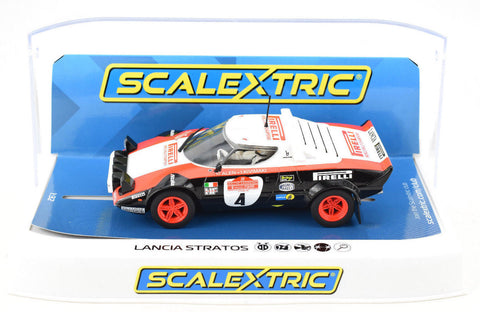 "Scalextric ""Pirelli"" Lancia Stratos W/ Lights 1/32 Scale Slot Car C3931"