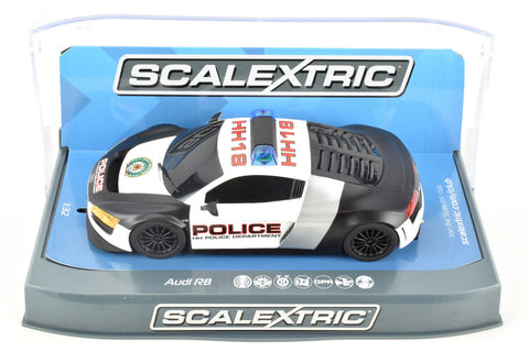 Scalextric Audi R8 Police Car DPR W/ Lights & Siren 1/32 Scale Slot Car C3932