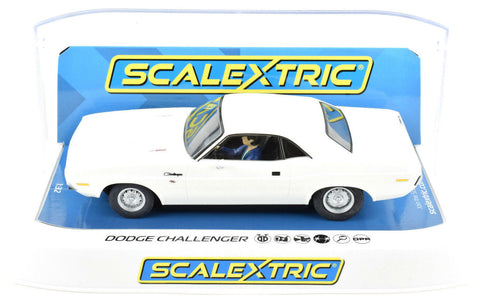 Scalextric White Dodge Challenger DPR W/ Lights 1/32 Scale Slot Car C3935