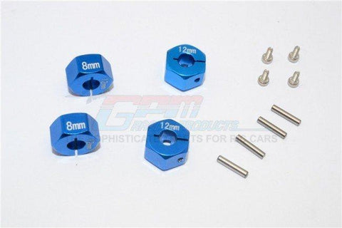 GPM Racing Traxxas 4-Tec 2.0 Blue Aluminum 8mm Thick Wheel Hex Adapters GT010-12X8MM-B