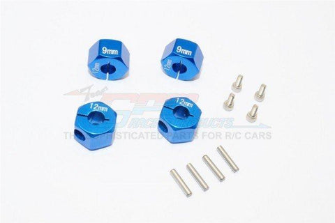 GPM Racing Traxxas 4-Tec 2.0 Blue Aluminum 9mm Thick Wheel Hex Adapters GT010-12X9MM-B