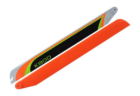 KBDD 515mm FBL Orange Extreme Edition Carbon Fiber Main Rotor Blades 515EE