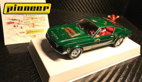 "Pioneer ""Santa's Stang"" Green 1968 Ford Mustang 390 GT 1/32 Scale Slot Car P036"