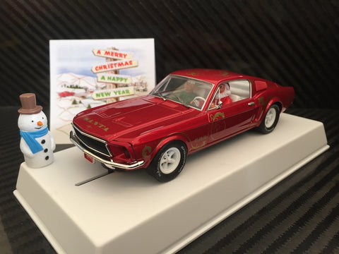 "Pioneer ""Santa's Stang"" Red 1968 Ford Mustang 390 GT 1/32 Scale Slot Car P037"