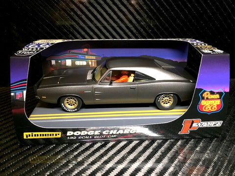 "Pioneer ""Route 66"" Midnight Grey 1969 Dodge Charger Hemi DPR 1/32 Slot Car P088"