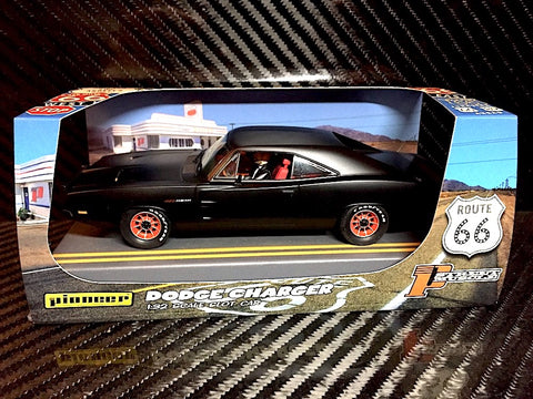 "Pioneer ""Route 66"" Ultra Black 1969 Dodge Charger Hemi DPR 1/32 Slot Car P089"
