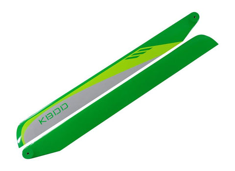 KBDD 515mm FBL White / Lime / Yellow Carbon Fiber Main Rotor Blades 515W