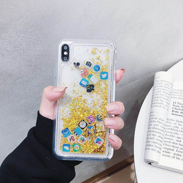 APP Icon Quicksand Case For iPhone 6 6S 7 8 Plus X XS Max XR
