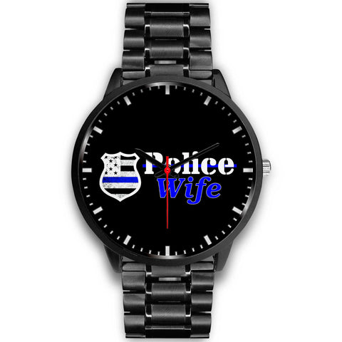 Police Wife Watch - Black Stainless