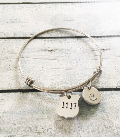 Police badge jewelry - Hand stamped bracelet - Cusomizable