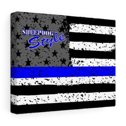 Thin Blue Line Flag Sheepdog Style Canvas Gallery Wraps