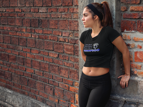 """Train Like A Sheepdog"" Sheepdog Style Women's Crop Top"